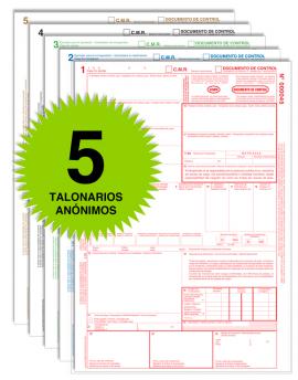 Pack 5 Talonarios CMR - Autocopiativos