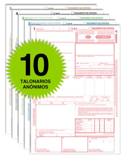 Pack 10 Talonarios CMR - Autocopiativos