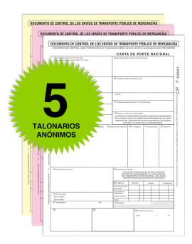 Pack 5 Talonarios Carta de Porte - Autocopiativos