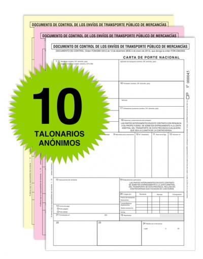 Pack 10 Talonarios Carta de Porte - Autocopiativos