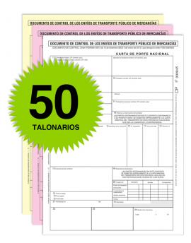 Pack 50 Talonarios Carta de Porte - Autocopiativos