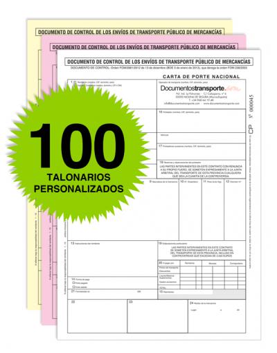 Pack 100 Talonarios Carta de Porte - Autocopiativos